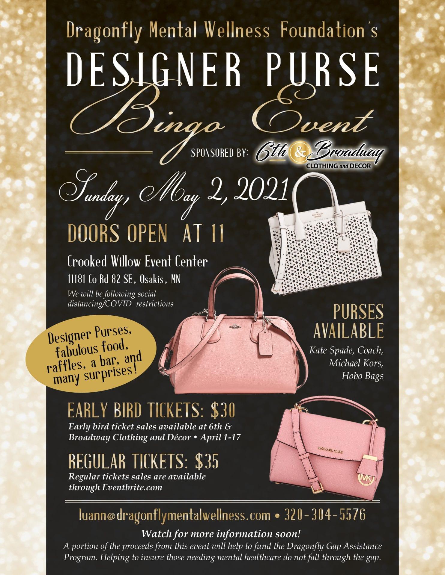 dragonfly designer purse bingo flyer
